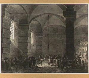 Gevangenen in de Conciergerie in Parijs tijdens de Franse Revolutie