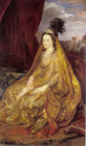 Portret van Teresia Sampsonia (1589-1668), vrouw van Sir Robert Shirley, als Perzische vrouw