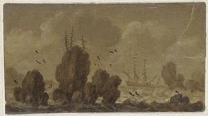 Zeegezicht met zeilschip tussen de rotsen