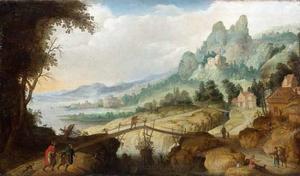 Berglandschap met wandelaars bij een brug