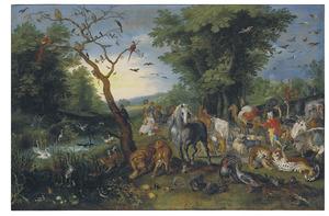 Landschap met de intocht in de ark van Noach (Gen. 6-8)