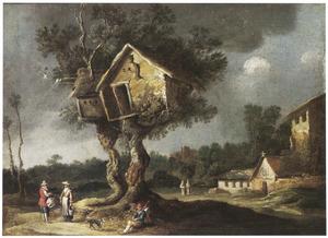 Landschap met reizigers onder een duiventil, rechts een klooster