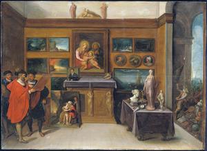 Kunstkenners in een schilderijenverzameling met rechts in een doorkijk de 'Anes Iconoclastes'