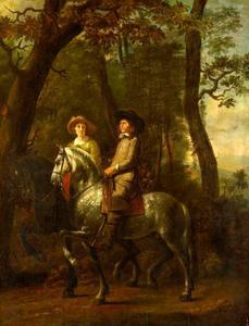 Portret van een man en een vrouw te paard