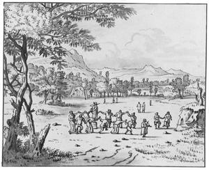 Heuvellandschap met dansende figuren