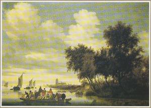 Rivierlandschap met veerboot, een kerk in de verte