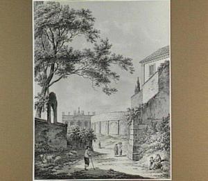 Gezicht op het amphitheater Castrense en S. Giovanni di Laterano te Rome