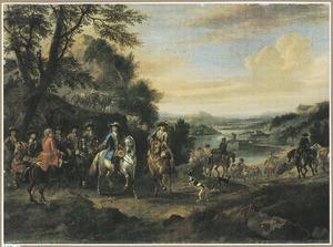 Bebost rivierlandschap met Willem III en zijn gevolg te paard