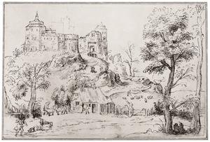 Heuvellandschap met fantastisch kasteel en boerderij