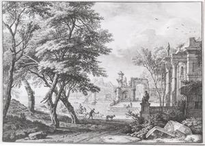 arcadisch landschap met fantasiearchitectuur aan een meer