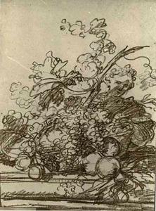 Vruchtenstilleven op een tafel met daarachter een vrouw