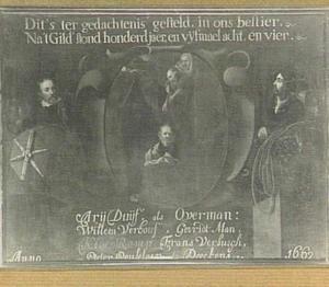 Memorietafel ter herdenking van het 144-jarig bestaan van het Baander- of Lijndraaiersgilde: de derlating van St. paulus in een mand van de muur van Damascus