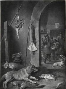 Dode dieren in een interieur, met jagers op de achtergrond