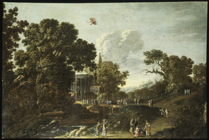 Boslandschap met Mercurius die verliefd wordt op Herse terwijl zij en haar gevolg bloemen naar de tempel dragen