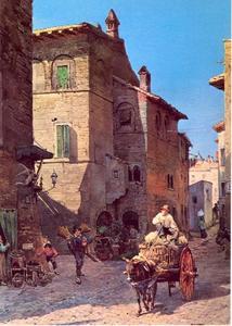 Oude huizen in de Via Lungaretta, het verdwenen Rome