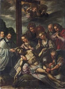 De bewening van Christus met portretten van donors