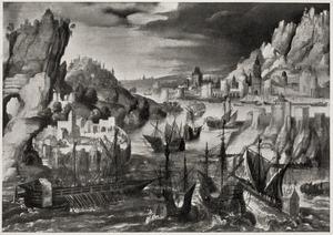 Schepen in een rotslandschap met in de achtergrond een haven