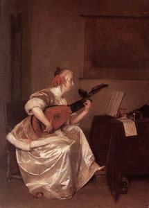 Interieur met luitspelende vrouw