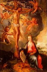 Ecclesia zittend aan de voeten van de gekruisigde Christus