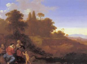 Landschap met de Heilige Familie met Elisabeth en Johannes de Doper als kind