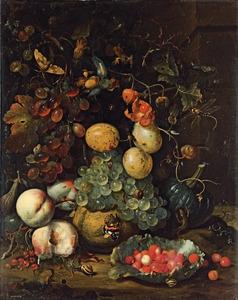 Stilleven met fruit voor een muur