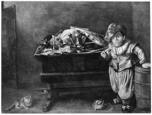 Rokende dwerg bij een tafel met een stilleven van muziekinstrumenten, boeken en een schedel