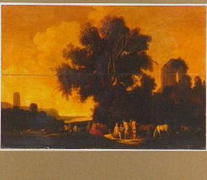 Arcadisch landschap met nimfen onder een boom bij een ruïne