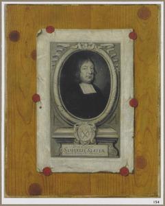 Trompe l'oeil van een prentje van Samuelis Slater bevestigd tegen een houten paneel