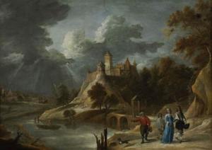 Landschap met kasteel en elegant gezelschap
