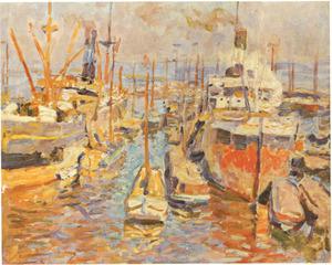 Vrachtschepen in de Amsterdamse haven