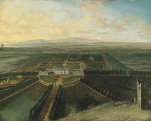 Gezicht op Carton House in het graafschap Kildare, met Maynooth in de achtergrond