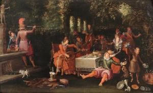 Allegorie van de vijf zintuigen; een vrolijk gezelschap in een tuin