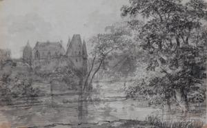 Landschap met kasteel aan een meer