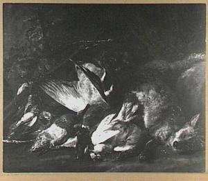 Jachtbuit met vos, gevogelte en kruisboog