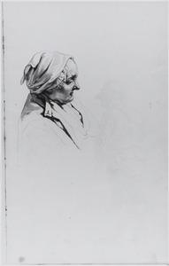 Vrouwenkop met muts, en schets van  haar bovenlijf