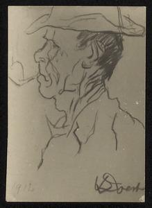 Man en profil met pijp en hoed