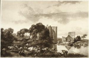 Zuidelijk rivierlandschap met veerpont, op de achtergrond de ruïne van kasteel Brederode vanuit het westen