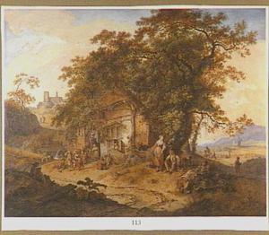Landschap met boeren voor een herberg