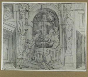 Figuren bij een fontein in een architecturale omlijsting