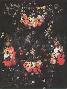 Gebeeldhouwde cartouche versierd met bloemen rondom een voorstelling van de Maagd Maria met het Christuskind en Johannes de Doper