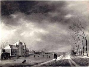 Winterlandschap met de Vaartsche Rijn bij het huis Rotsoord ten zuiden van Utrecht