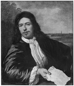 Portret van een man ten halven lijve met een document in de hand, in de achtergrond een landschap