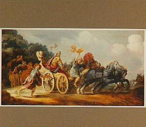 Koning Achab dodelijk gewond in zijn strijdwagen (1 Koningen 22:34)