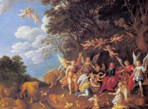 Christus door de engelen verzorgd na zijn verzoekingen door de duivel