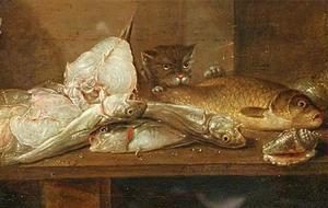 Vissen op een tafel, erachter een kat