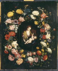 Bloemenkrans rondom een voorstelling van de Heilige Familie