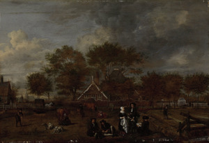 Boerenhofstede met op de voorgrond de hereboer met zijn vrouw en de schilder