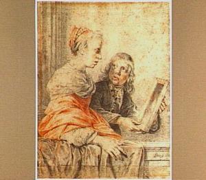Vrouw en jongen met spiegel