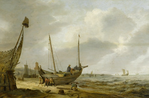 Kustlandschap met vissers in hun boot op het strand