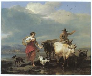 Zuidelijk landschap met herderin en ezelrijder bij een doorwaadbare plaats